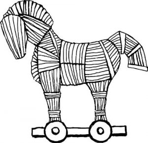 disegno in bianco e nero del cavallo di troia
